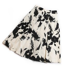 ZARA WOMAN • PLEATED FLORAL MIDI SKIRT CREAM BLACK
